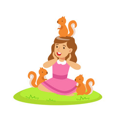 smiling happy girl sitting on green grass and vector image vector image