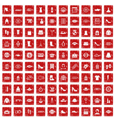 100 woman shopping icons set grunge red vector image