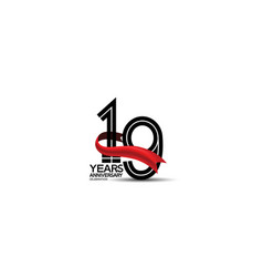 19 years anniversary logotype flat black color vector