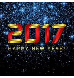 2017 Happy New Year greeting card with blue stars vector image