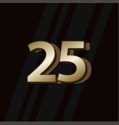 25 years anniversary gold elegant number template vector