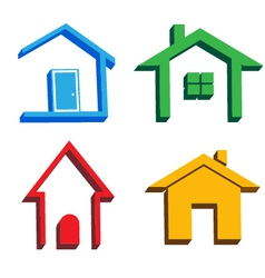 3D houses icons vector