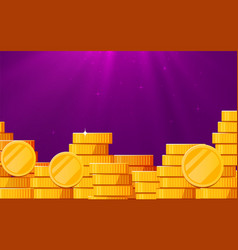 A lot coins with light beam jackpot or success vector