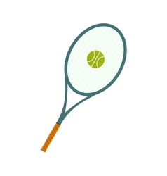 A tennis racquet and a ball flat icon vector