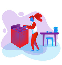 A woman cooks near plate flat style vector