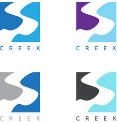 abstract creek or path labels set vector image