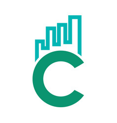 abstract letter c marketing and finance logo vector image