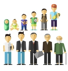Aging concept male characters vector