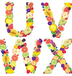 Alphabet from fruit UVWX vector image