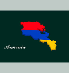armenia map with the armenian flag vector image