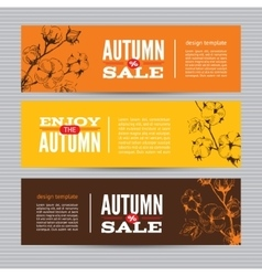 Autumn banners set with stems of cotton plants vector