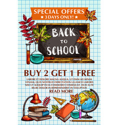 Back to school sale special offer poster vector