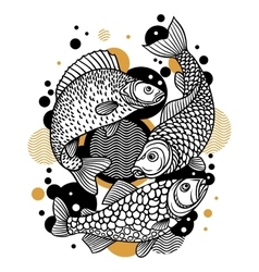 Background with decorative fish Image for design vector image vector image