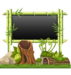 Bamboo frame in the garden vector