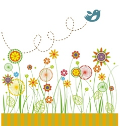 Beautiful flowers greeting card vector image