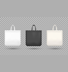 black and white shopping bags realistic vector image