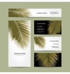 Business cards design with tropical palm leaf vector image vector image