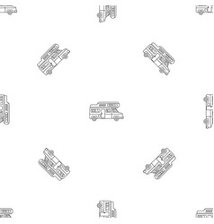camping truck pattern seamless vector image