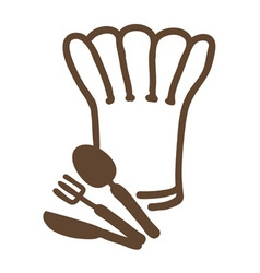 chef hat forkspoon and knife vector image
