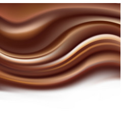 Chocolate creamy background with soft brown wavy vector