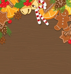 Christmas Background on Wooden Board vector image