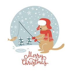 Christmas card cat fisherman vector image