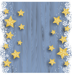 christmas stars on snowy wood background vector image