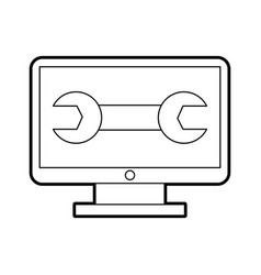 Computer desktop with wrench vector