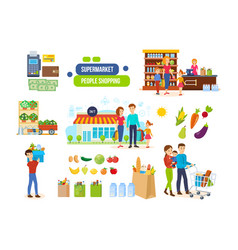 couples in supermarkets shopping malls vector image