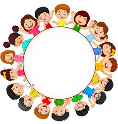 Crowd of children with blank space vector image