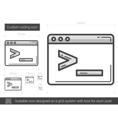Custom coding line icon vector image