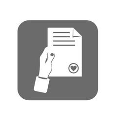 Customer service icon with document sign vector