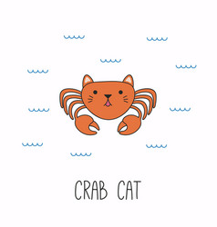 Cute cat crab vector
