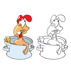 cute cockerel pan cartoon vector image