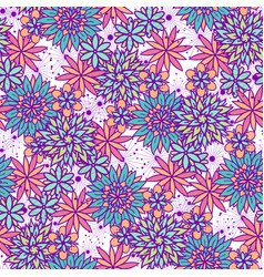 Cute doodle seamless floral pattern vector
