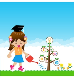Cute little girl with tree education concept on vector