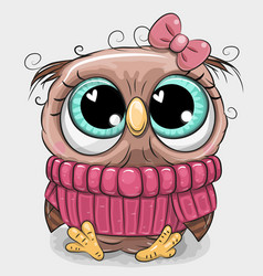 Cute owl in pink sweater vector