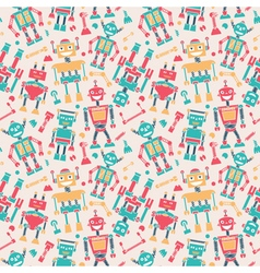 Cute retro robots colorful silhouette background vector