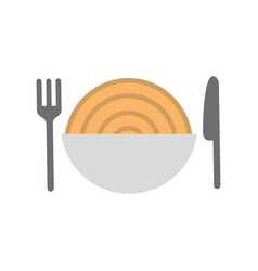 cutlery with delicious spaghetti isolated icon vector image