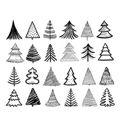 doodle christmas tree winter holiday hand drawn vector image