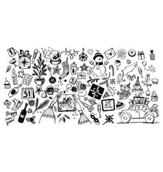 doodle drawn christmas and new year symbols vector image