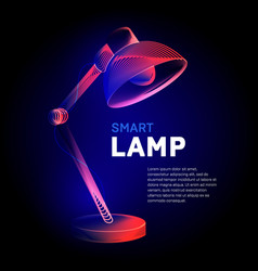 electric table lamp or desk light bulb contour vector image