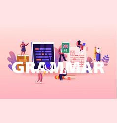 English grammar examination concept tiny people vector