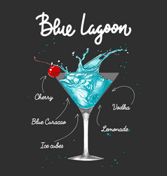 Engraved style blue lagoon alcoholic cocktail vector