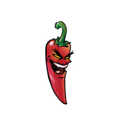 Evil red hot chili pepper vector