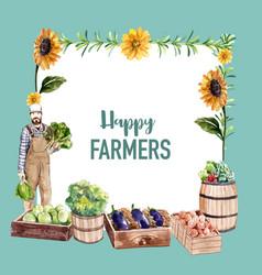 Farmer wreath design with sunflower onion vector
