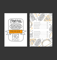 fast food premium menu template restaurant or vector image