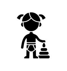 Female toddler black glyph icon vector