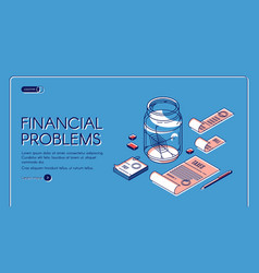 financial problems bankruptcy landing page banner vector image