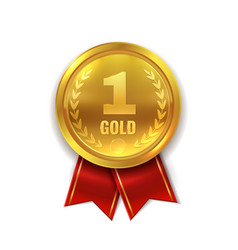 first place golden award medal or orden vector image